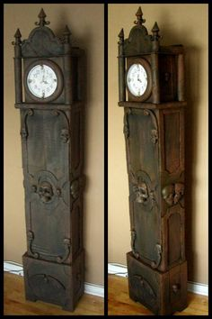 DIY Dollar Store and Cardboard Boxes Halloween Grandfather Clock http://www.halloweenforum.com/halloween-props/120838-grandfather-clock-cardboard-dollar-store-items.html