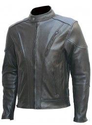 Mens Black Motorcycle Leather Moto Jacket