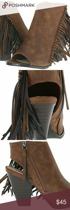 Brown Fringe Open Toe Faux Leather Booties Fringe adds flair to this shootie. It has a western-style sophistication you'll love. Radiate with chic and classic style with this heel. This ankle Heel features a faux leather upper with asymmetrical fringe design, almond toe, and chunky stacked heel. Finished with soft insole and side zipper closure for easy on/off. Peep toe Synthetic leather Starlight Footwear  Shoes Ankle Boots & Booties