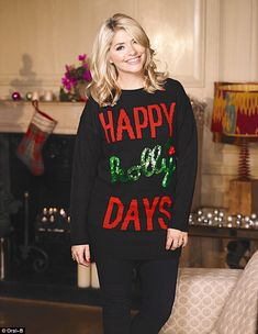 Holly Willoughby: 'It's all about the red lips and dress' This Morning star shares her festive beauty secrets with FEMAIL Christmas Jumpers, Christmas Sweaters, Holly Willoughby Style, Fearne Cotton, Hair Growth Tips, Tv Presenters, Love Her Style, Beautiful Celebrities, Beautiful Women