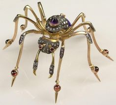 Fabulous Large Antique Style Russian 15 Karat Yellow Gold, Enamel, Diamond, Garnet and Amethyst Spider Brooch. Signed. Good to Very Good Condition. Measures 1-1/2 Inches Tall and 3 Inches Wide. Approx. Weight: 27.15 Pennyweights. Shipping $34.00
