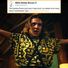 Stranger Things Eleven, Millie Bobby Brown, Season 3 << I honestly really love this shirt and some of the outfits from season 3 Bobby Brown Stranger Things, Stranger Things Actors, Stranger Things Quote, Stranger Things Have Happened, Stranger Things Aesthetic, Stranger Things Season 3, Eleven Stranger Things, Stranger Things Netflix, Millie Bobby Brown