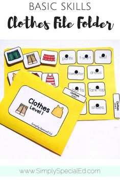 Clothes file folder for special education classrooms