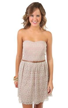 simple & cute (bridesmaid)    all over embroidered lace strapless belted skater dress