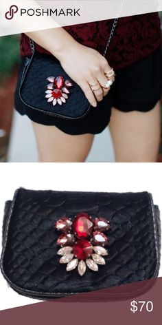 """🆕Black Pony Hair Mini Crystal Bag Adorable cross body bag by T&J designs! Dimensions: 4.5""""W x 5.5""""H x 2""""D.  Chain length 47"""" Materials: black pony hair, glass crystals, and nickel & lead free Made in China T&J Designs Bags Crossbody Bags"""