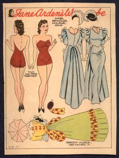 10-8-39 Jane Arden paper doll, different colors / eBay