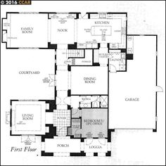 Gallery at Gale Ranch by Shapell Homes (Toll Brothers) - Floor Plans - Residence 4 (Imperial) - First Floor - Robert Hidey Architects (RHA)