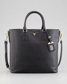 Saffiano Snap-Top Tote Bag, Nero by Prada at Bergdorf Goodman.