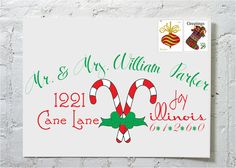 Christmas Card Candy Cane- Dashingly Chic Calligraphy Envelope Addressing