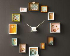 Cute homemade clock with shadow boxes lined with fabric, paper or wallpaper. You can find the clock workings at any craft store. You can make a clock out of pictures or a mural, sky's the limit! Cute Clock, Diy Clock, Clock Ideas, Clock Art, Wall Clocks, Paper Clock, Book Clock, Clock Decor, Picture Frame Projects