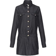 Anthony Vaccarello Denim Shirt Dress (60,420 DOP) ❤ liked on Polyvore featuring dresses, button up dress, long sleeve shirt dress, long-sleeve mini dress, long shirt dress and shirt-dress