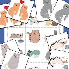 Grab this free printable cat matching memory game for your animal loving kids! Makes a great learning activity too.