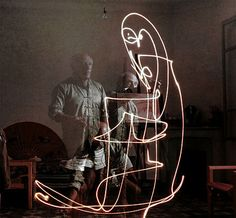 In 1949, renowned LIFE photographer Gjon Mili visited Pablo Picasso in the South of France. Using a small flashlight in a dark room, Picasso created wildly free and fluid drawings while Mili snapped away. The resulting images are, erm, electric.