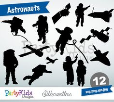 Astronauts Silhouettes, SVG Astronauts, Instant Download, svg, png, jpg and eps file types included, PS-322.