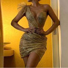 Sexy Deep V Gold Irregular Pleated Slim bodycon Dress Sexy Dresses, Simple Dresses, Elegant Dresses, Women's Fashion Dresses, Dress Outfits, Party Dresses, Party Outfits, Occasion Dresses, Gold Evening Dresses