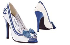 Vintage Sailor Pin Up Shoes Peep Toe Pumps, Women's Pumps, Pump Shoes, Stiletto Heels, Shoe Boots, High Heels, Boat Shoes, Women's Shoes, Dress Shoes