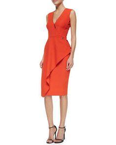 Deep V-Neck Asymmetric Ruffle Dress by Victoria Beckham