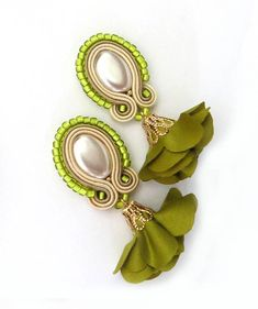 Olive pearl earrings olive cream earrings soutache clip on image 1 Cream Earrings, Bar Stud Earrings, Flower Earrings, Clip On Earrings, Pearl Earrings, Jewelry Sets, Fine Jewelry, Infinity Knot Ring, Soutache Necklace