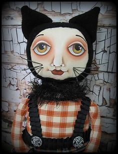 OOAK Folk Art Halloween Primitive Black Cat Art Doll by Hip Heart Studio   eBay