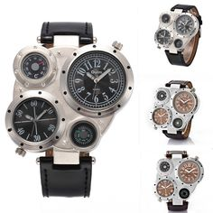 OULM Military Army Dual Time Zones Movements Mens Watch Big Dial Leather Sports #Olum #Sport