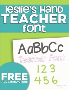 KindergartenWorks Font {Leslie's Hand} This page on TPT has FREE font, digital paper and clip art!!