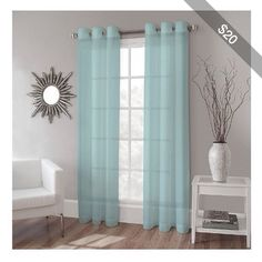 Home Collection Diana Sheer Grommet Panels Two Panels 60 x 84 Each Blue