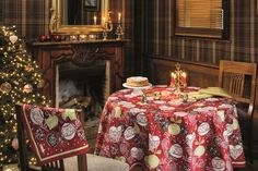 Christmas luxury French tablecloth for a joyful Holiday dinner table designed and made in France by Beauville.