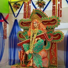 Image may contain: 1 person Saraswati Puja Pandal, Saraswati Murti, Saraswati Photo, Saraswati Goddess, Indian Army Wallpapers, Lord Ganesha Paintings, Ganesh Idol, Hindu Deities, Hinduism