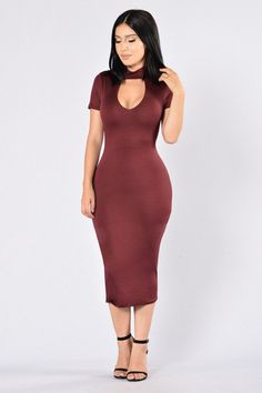 Available in Burgundy Mock Neckline Deep V Midi Length Rayon, Spandex Pretty Outfits, Pretty Dresses, Sexy Dresses, Fashion Dresses, Brown Jumpsuits, Burgundy Fashion, Stylish Clothes For Women, Types Of Dresses, Hot Dress