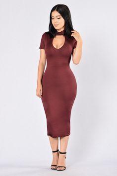 Temptation Dress - Burgundy