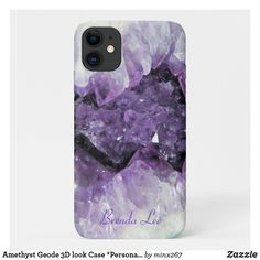 Amethyst Geode 3D look Case *Personalize* Unique Iphone Cases, Iphone 6 Cases, New Iphone, Apple Iphone, Amethyst Geode, Plastic Case, Keep It Cleaner, 3d, Prints