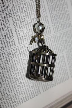 steampunk birdcage clock pendant with pearl and by AminiAdventure, £17.00