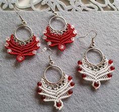 Macrame earring tutorial – red & white