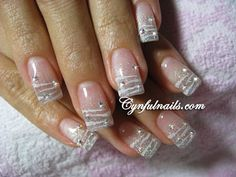 Simple silver glitter gel extension with painted white zebra stripes ~ by Cynful Nails