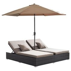 Double Chaise Lounge Chair With Umbrella