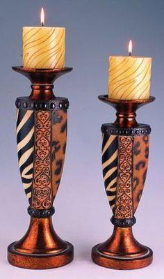 "Half Zebra and Leopard Print 12"" amd 14""H Decorative Candle Holder 2Pc Set | eBay"