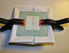 Shibori Folding - no 15 clamping. via And Then We Set It On Fire Shibori, Indigo, Natural Dye Fabric, How To Dye Fabric, Surface Design, Fabric Crafts, Fiber Art, Printing On Fabric, Tie Dye