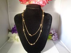10% off Use Coupon Code 111116. Vintage Goldtone Double Strand Necklace. The Necklace Measures Approximately 18 inches Long. www.CCCsVintageJewelry.com