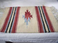 Vintage Hand Woven Indian Mini Rug Table Decor Small Mat 19 x 15 Rust Blue Cream