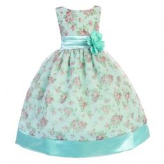 A beautiful dress for an elegant distinctive flair by Ellie Kids for your little princess. The floral printed organza gown features a satin waistline and belt with a nice large flower attached. Teal sleeveless dress features 3 layered skirt for added full