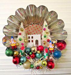 Vintage Large Tin Tart Mold Christmas Decoration by dimestorechic
