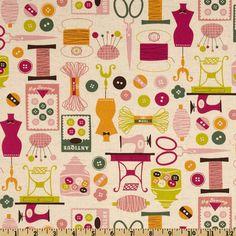 Kokka Trefle Cotton/Linen Canvas Sewing Notions Cream - Discount Designer Fabric - Fabric.com