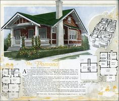 """The Pomona is a pretty, shingled, Craftsman-style bungalow with distinctive trim and knee braces. The story behind the design of the Pomona is that it was designed for a native Californian who married and moved to New York. """"...she appealed to Aladdin to produce a home that would radiate the delightful California sunniness and typify the bungalowcraft for which the sunset country is renowned."""""""