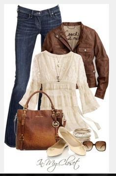 shirt jacket shoes clothes purse bag jeans pants blouse top cream blouse long sleeves empire waist top ruffled top v-neck leather jacket flats slippers outfit lacey top