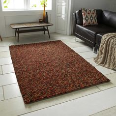 Pebbles Wool Shaggy rugs in Terracotta