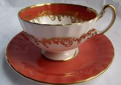 Aynsley Tea Cup & Saucer Coral with Gilt by RavenSpiesVintage, $46.00