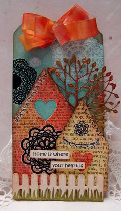 love the newsprint houses and colors Atc Cards, Card Tags, Gift Tags, Handmade Tags, Greeting Cards Handmade, Card Making Inspiration, Making Ideas, Love Tag, Paper Tags