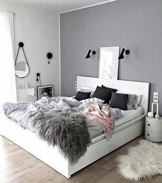 Sublime Useful Tips: Minimalist Living Room Tv Fire Places minimalist home with kids clutter.Minimalist Bedroom Scandinavian Grey minimalist home office decoration.Minimalist Home Office Layout. Dream Bedroom, Home Bedroom, Warm Bedroom, Bedroom Green, Bedroom Inspo Grey, Fantasy Bedroom, Black And White Bedroom Teenager, Bedroom Small, Blush Pink And Grey Bedroom