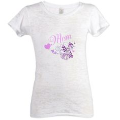 Mom Pink Hearts and Flowers Burnout T-Shirt by MoonDreams Music - Great gift for Mother's Day! #mom #mothersday #moondreamsmusic #hearts #flowers #pink #purple