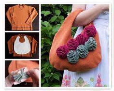 muy buenas ideas para re-utilizar ropa que ya no ocupas y crear una hermosa bolsa de tela.......esta fantástica.